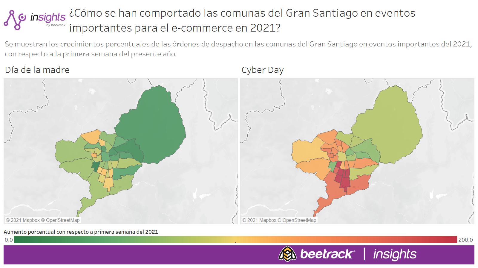 ¿Cómo se han comportado las comunas del Gran Santiago en eventos importantes para el e-commerce en 2021